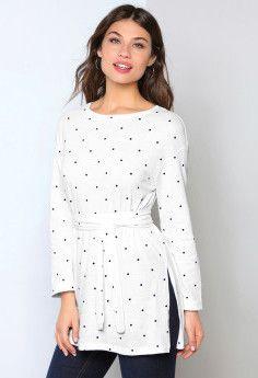 Tričko s opaskom Polka Dot Top, Blouse, Long Sleeve, Sleeves, Style Fashion, Women, Clothing, White Peplum, Polka Dots