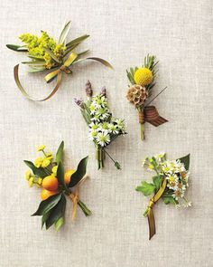 Pops of yellow with these beautiful buttonholes