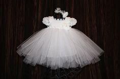 Bella Ballerina - Crochet Christening Gown, Blessing Dress, Baptism Dress, Ballerina, Tutu Dress, Crochet Tutu Dress. $85.00, via Etsy.