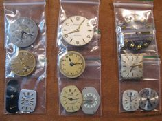 12 Vintage Wrist Watch Dials with Hands & Cog by HandzofTime, £5.95