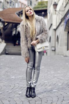 metallic pants with fur coat