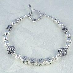 Sterling Silver Bali Name Bracelet