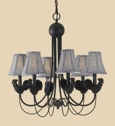 @Overstock - Antique iron roosters with black and white checkered shades  complete this charming chandelier