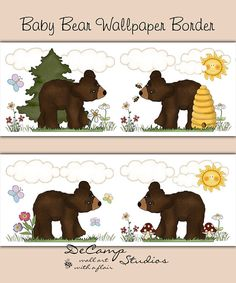 Woodland Bear Cub Wallpaper Border Wall Decals for baby girl or boy forest animals nursery or childrens bedroom decor. Little bear cubs are exploring on a beautiful spring day #decampstudios