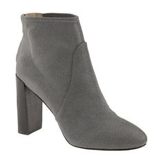Banana Republic Womens Hannah Bootie Size 9 1/2 - Urban gray ($168) ❤ liked on Polyvore featuring shoes, boots, ankle booties, grey high heel boots, grey ankle booties, grey ankle boots, zipper ankle boots и gray ankle boots