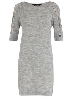 Dorothy Perkins  Grey knitted cable sleeve dress