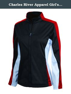 Charles River Apparel Girl's Dry Sporty Energy Jacket, Black/Red/White, Large. 100% Polyester Tricot brushed on the inside for softness. Made exclusively with TopShieldTM moisture management treatment. This hi-tech treatment applied to the fabric wicks moisture away from your body, keeping you comfortable and dry. Sporty tri-color design at shoulders, arms and sides. Stand-up collar, set-in sleeves, and side seam pockets. Open cuffs & open bottom hem. Coordinates with Girls' Energy Pants...