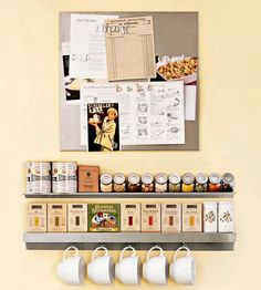 The combination of metal shelving and a magnetic board corrals spices, tea, mugs, pictures, and recipes all in one easy-to-reach place.