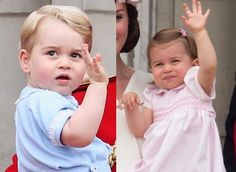First waves at the Trooping of the Colour from the balcony of Buckingham Palace: Prince George in 2015, Princess Charlotte in 2016