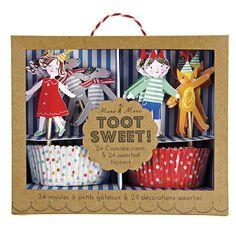 Süßes Cupcakeset um Muffins oder Cupcakes perfekt auf dem Kuchenbuffet oder einem Kindergeburtstag zu präsentieren. Das Set besteht aus süßen Muffinsförmchen und Steckern und die Muffins später zu verzieren. Das Meri Meri - Cupcake Set Zirkus gibt es bei www.party-princess.de