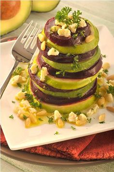 A fun dish that even the kids will enjoy -- Roasted Beet, #Avocado and Granny Smith Tower