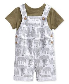 First Impressions Baby Boys' T-Shirt & Elephant Shortall Set, Only at Macy's - Shop All Baby - Kids & Baby - Macy's