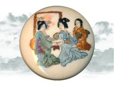 Large 19th C. Satsuma Indoor Scene of 2 Woman and Young Girl Button ~ R C Larner Buttons at eBay  Etsy        http://stores.ebay.com/RC-LARNER-BUTTONS and https://www.etsy.com/shop/rclarner