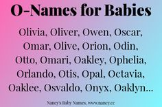 """Looking for baby names that start with O? Here are the most common O-names for babies in the United States. These are what you might call """"modern American names"""" in that each of these h… Pretty Names, Cute Names, Unique Names, Kid Names, First Names, Name Inspiration, Writing Inspiration, Writing Prompts, Writing Tips"""