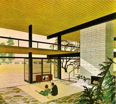 Mid century interior illustrated by unknown artist. Anyone know who made this?