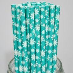 Pattern Paper Straws: Snowflake Teal