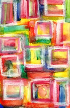 Original Abstract Squares Watercolor Mini Painting by by rostudios