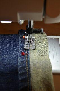 broek inkorten originele zoom behouden, #naaien, jeans, korter maken