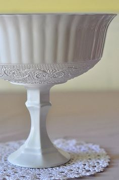 get cheap candlesticks and glass bowls for the $ store, paint, and Voila!  beautiful serving dishes.
