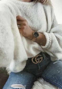 fuzzy sweaters + gucci belt outfit + distressed denim jeans + gold watch | #ootd #outfitideas