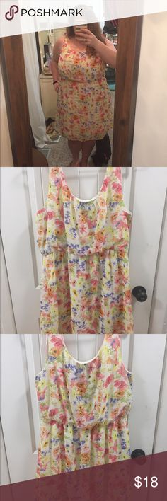 "AGB floral dress sz. 14 I think I've worn the stress one time the yellow and orange didn't look that great with my skin tone in my personal opinion. This is a size 14 it's a little too small my measurements as pictured: 46""b,36""w,46""b 5'3"" high. The nice thing about the stress is the fabric is very stretchy so it could fit numerous sizes if it's me as pictured and I currently wear a size 16 AGB Dresses Mini"