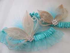 Aqua Blue Butterfly Wedding Garter Set, Ivory Peacock Garter, Teal Bridal Garter, Seafoam Garter, Rustic- Country Bride, Something Blue