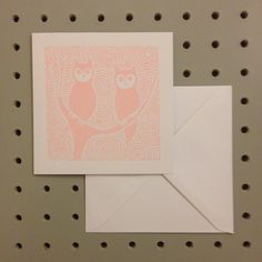 Pale Pink Owls. Hand Printed Linocut Greetings Card. by HollyBowerMakes on Etsy