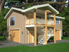One bedroom garage apartment over two car garage plan for 26 x 36 garage