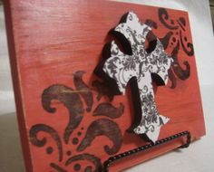 cross plaque: could do the plaque in my chase lounge flower design & the cross in my damask bedspread colors to tie it all in!