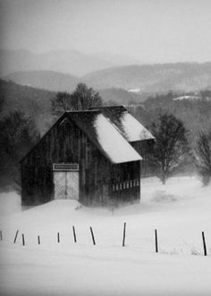 Black & White Picture Of Barn