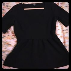 Daisy Fuentes Black Stretch Peplum Top Like new, no trades please! Daisy Fuentes Tops Blouses