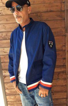 Blue bomber jacket ,white, red, blue stripes, around waist and sleeves ,stripes jacket,urban,street style,racing jacket,rockabilly