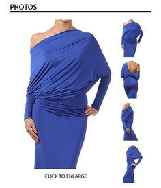 "Royal Blue Long Sleeve ""Slinky"" Dress"