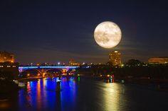 SUPER FULL MOON OVER 35W Bridge, Minneapolis Minnesota, USA by Saibal Ghosh