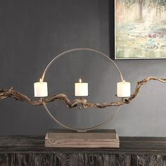 Instantly impress your guests by bringing the outdoors in to your coastal entry or living room with this oh-so-chic large Mendocino Driftwood Candle Holder. Instantly impress your guests by bringing the outdoors in to your coastal entry or Driftwood Candle Holders, Pillar Candle Holders, Pillar Candles, Candle Sconces, Candleholders, Candlesticks, Iron Ring, Industrial Light Fixtures, Industrial Lighting