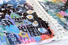 Alisa Burke painting and drawing in sketchbook + video  http://alisaburke.blogspot.com/2013/02/a-peek-inside-my-sketchbook_19.html