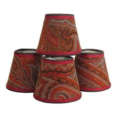 Antique Paisley Lampshades - Set of 4 Fabric Lampshade, Lampshades, Lamp Shades For Sale, Paisley Fabric, Western Look, Oriental Design, Modern Artwork, Glass Material, Diffused Light