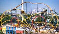 Tsunami at the San Marcos National Fair; designed by Anton Schwarzkopf, this terrifying coaster operated for 10 years on the German travelling funfair circuit as Thriller, after which modifications were made and it operated at Six Flags Astroworld (pictured here) as Texas Tornado, then Six Flags Discovery Kingdom as Zonga