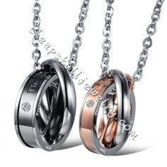 "New Stainless Steel ""The only eternal love"" Crystal Drill Triple Rings Couple Pendant Necklace for sale $38.98"