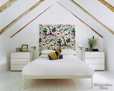 """From: the July/August 2009 issue of Metropolitan Home. """"Modern Swedish Style"""" Renovating a classic 19th-century home in upstate New York, Douglas Larson kept things simple, letting the sun shine in and giving 19th-century proportions a fresh Swedish twist. The Larsons dressed up their Min bed from Design Within Reach with a Josef Frank fabric for Svenskt Tenn through Brunschwig et Fils; the Robin bedside chests are also from Ikea.  Photographer: Tim Street-Porter"""