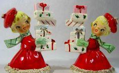 Vintage Holt Howard Shopper Girl Christmas Candle Holders @ www.crazy4me.com