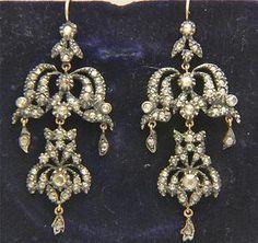 A Magnificent Pair Of 2ct Georgian Rose Cut Diamond Earrings Circa 1780's