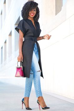 Short Sleeve Kimono Jacket + Ripped Ankle Length Jeans