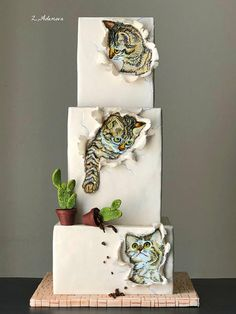 Three Little Kittens cake. by More_Sugar cake decorating ideas Cake Icing, Fondant Cakes, Eat Cake, Fondant Bow, Fondant Tutorial, Fondant Flowers, Fondant Figures, Gorgeous Cakes, Pretty Cakes