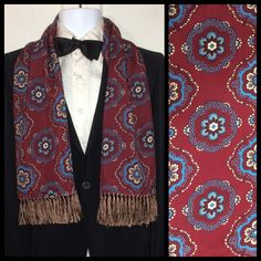 Excited to share the latest addition to my #etsy shop: 1940's burgundy red blue patterned fringed rayon ascot cravat opera dress scarf 43x11.5 plus fringe formal gentlemen