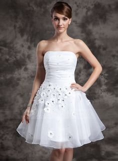 Wedding Dresses - $132.99 - A-Line/Princess Strapless Knee-Length Organza Wedding Dress With Ruffle Beadwork Flower(s) (002024068) http://jjshouse.com/A-Line-Princess-Strapless-Knee-Length-Organza-Wedding-Dress-With-Ruffle-Beadwork-Flower-S-002024068-g24068