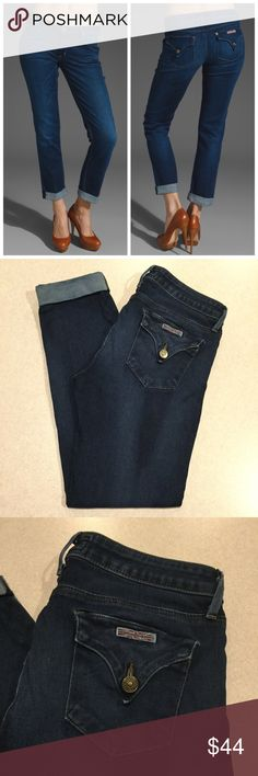 """Hudson Jeans 27X27 Bacara Straight Cuff In Nelson! Hudson Jeans The bacara crop straight cuffed Nelson wash Size 27 27 inch cropped fit inseam A dark but vibrant blue with very soft fading Great condition, no flaws! Retailed for $198.00 """"A mid-rise jean is cut from whiskered denim into a straight leg profile with cuffed ankles.""""  All of my items come from a smoke free, pet free home and are authenticity guaranteed! Please ask any questions 610-15 Hudson Jeans Jeans Ankle & Cropped"""
