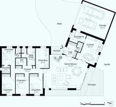 Nice Plan Maison Neuve Plain Pied that you must know, You?re in good company if you?re looking for Plan Maison Neuve Plain Pied Bungalow Floor Plans, Home Design Floor Plans, House Floor Plans, The Plan, How To Plan, Villa Plan, Contemporary House Plans, Architect Design, Architect Logo