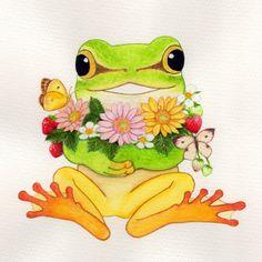 喜びの春 Frog Pictures, Frog Pics, Frog Art, Printable Adult Coloring Pages, Cute Frogs, Frog And Toad, Beginner Painting, Cute Friends, Cute Images
