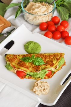 Pesto Ricotta Omelettes with Cherry Tomatoes
